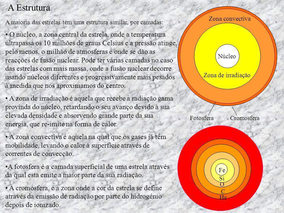 A Estrutura Zona de irradiação. Núcleo. Zona convectiva. Fotosfera. Cromosfera. A maioria das estrelas têm uma estrutura similar, por camadas: