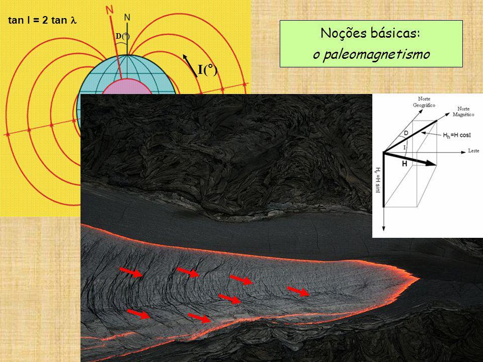 D(°) I(°) tan I = 2 tan l Noções básicas: o paleomagnetismo