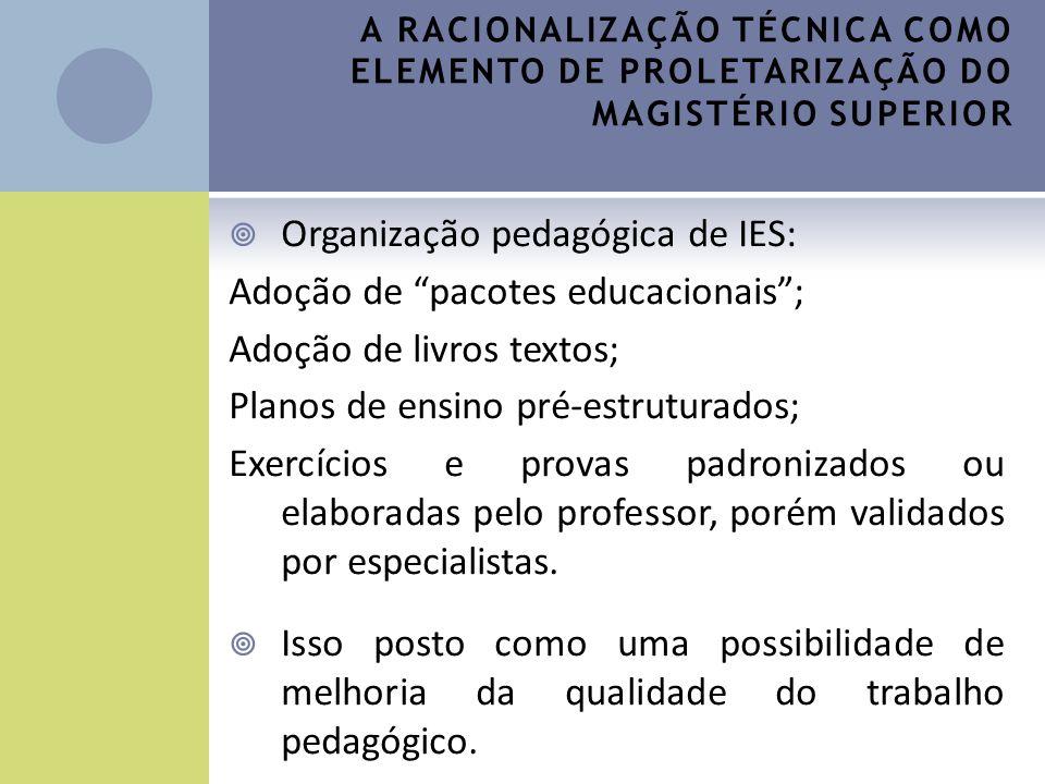 Organização pedagógica de IES: Adoção de pacotes educacionais ;