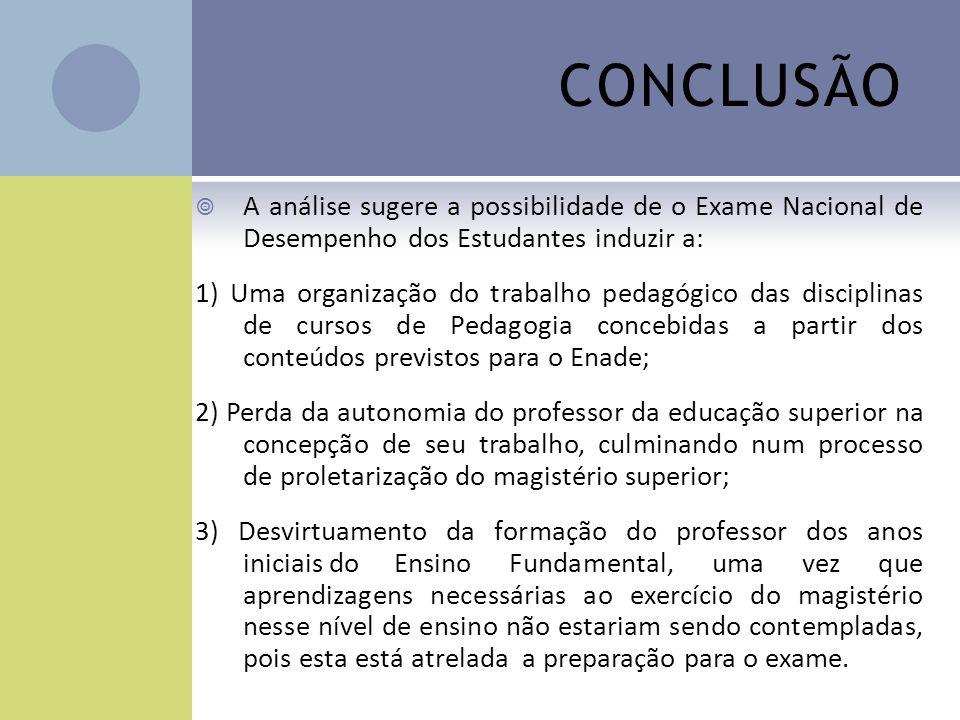 CONCLUSÃO A análise sugere a possibilidade de o Exame Nacional de Desempenho dos Estudantes induzir a: