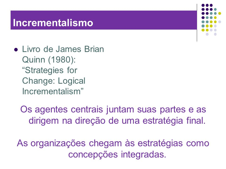 As organizações chegam às estratégias como concepções integradas.