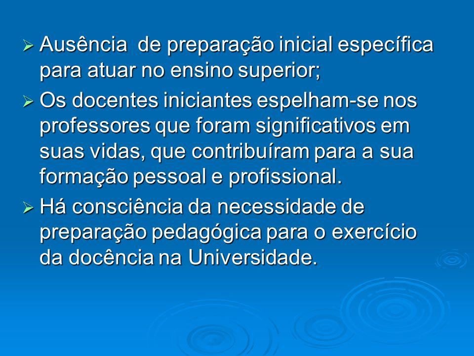 Ausência de preparação inicial específica para atuar no ensino superior;