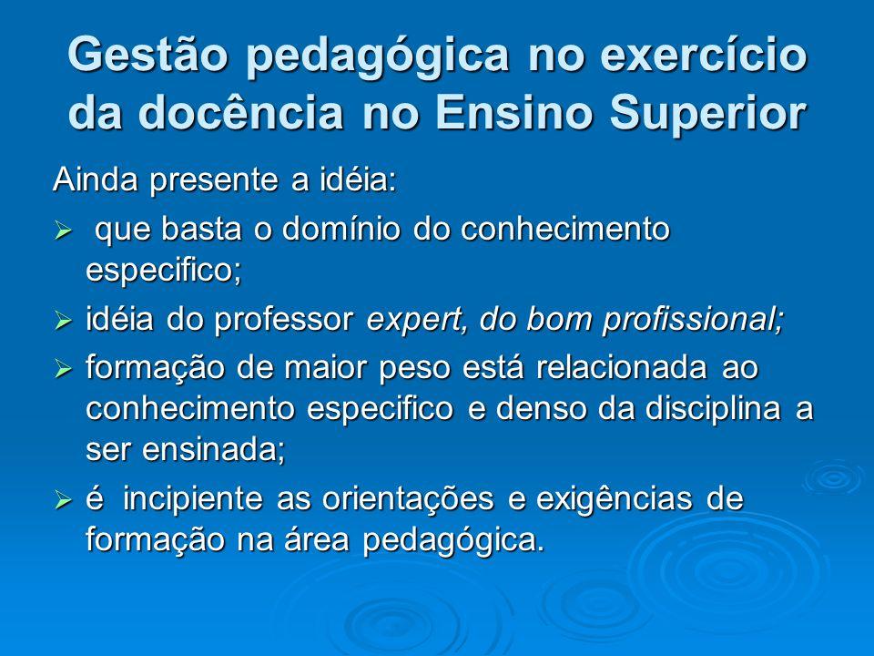 Gestão pedagógica no exercício da docência no Ensino Superior