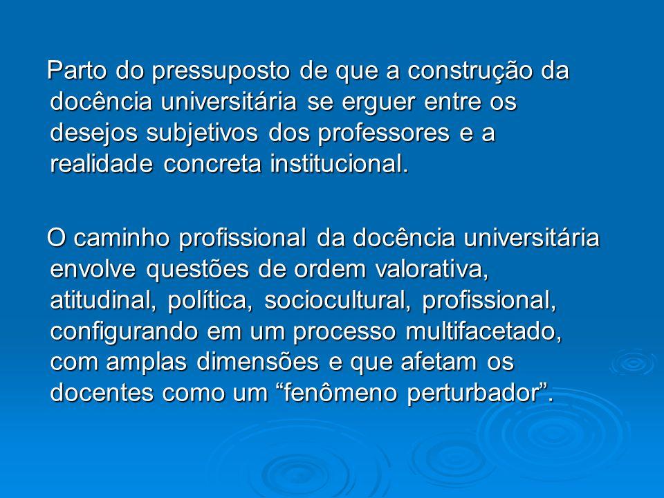 Parto do pressuposto de que a construção da docência universitária se erguer entre os desejos subjetivos dos professores e a realidade concreta institucional.