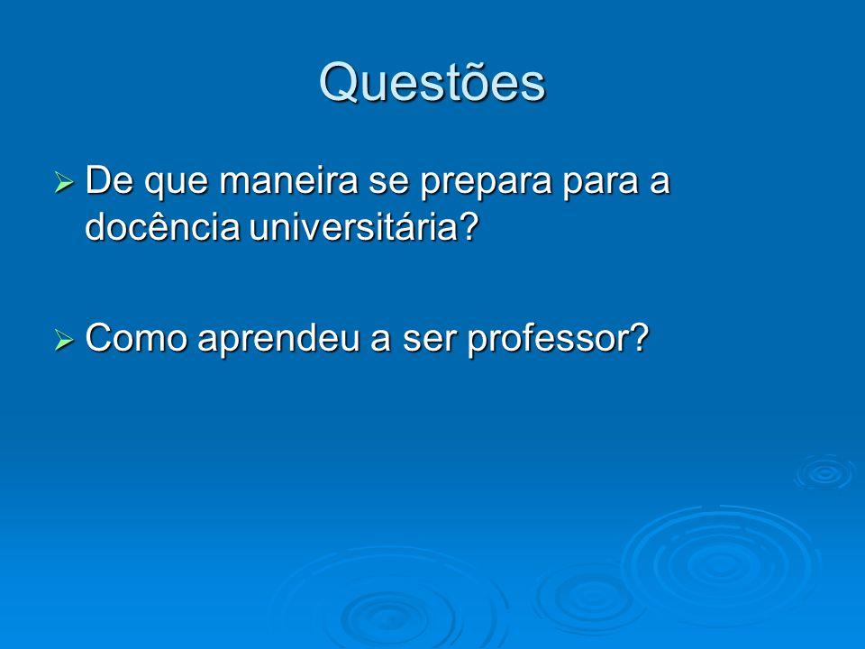 Questões De que maneira se prepara para a docência universitária