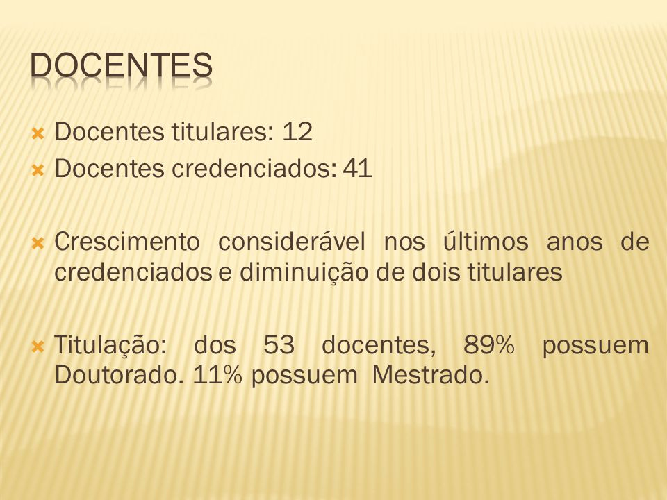 Docentes Docentes titulares: 12 Docentes credenciados: 41