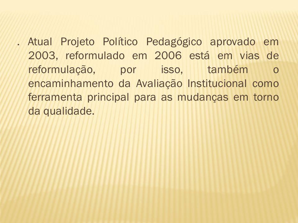 . Atual Projeto Político Pedagógico aprovado em 2003, reformulado em 2006 está em vias de reformulação, por isso, também o encaminhamento da Avaliação Institucional como ferramenta principal para as mudanças em torno da qualidade.