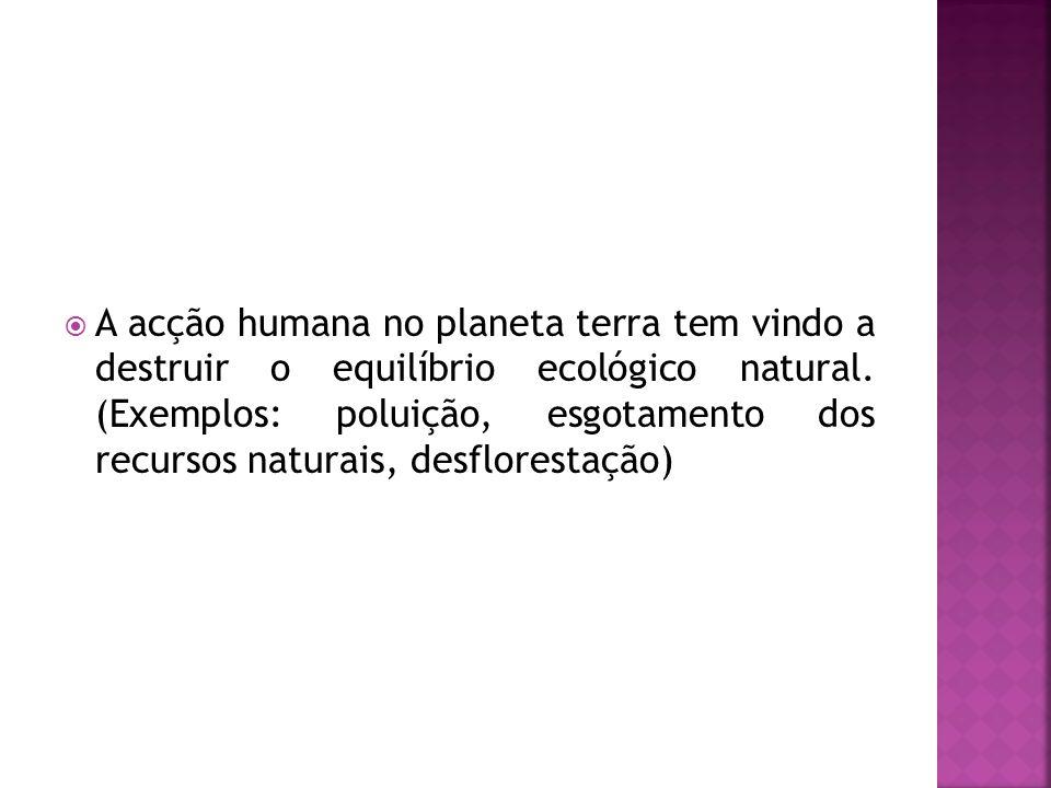 A acção humana no planeta terra tem vindo a destruir o equilíbrio ecológico natural.