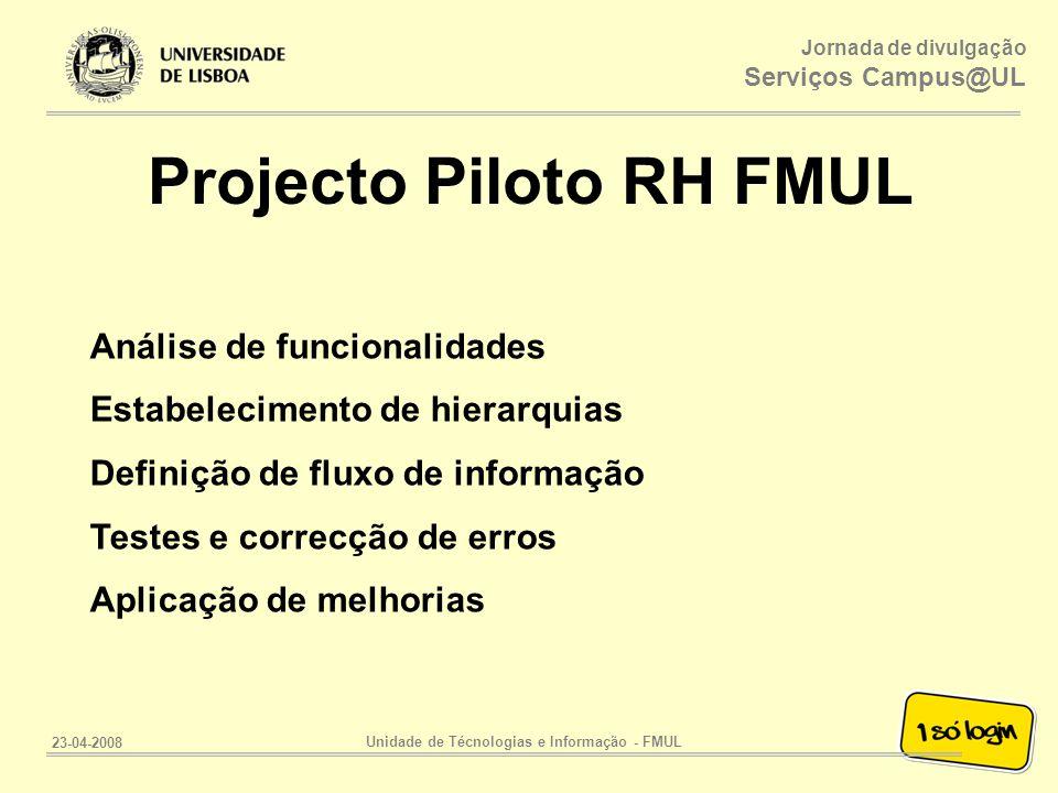 Projecto Piloto RH FMUL Unidade de Técnologias e Informação - FMUL