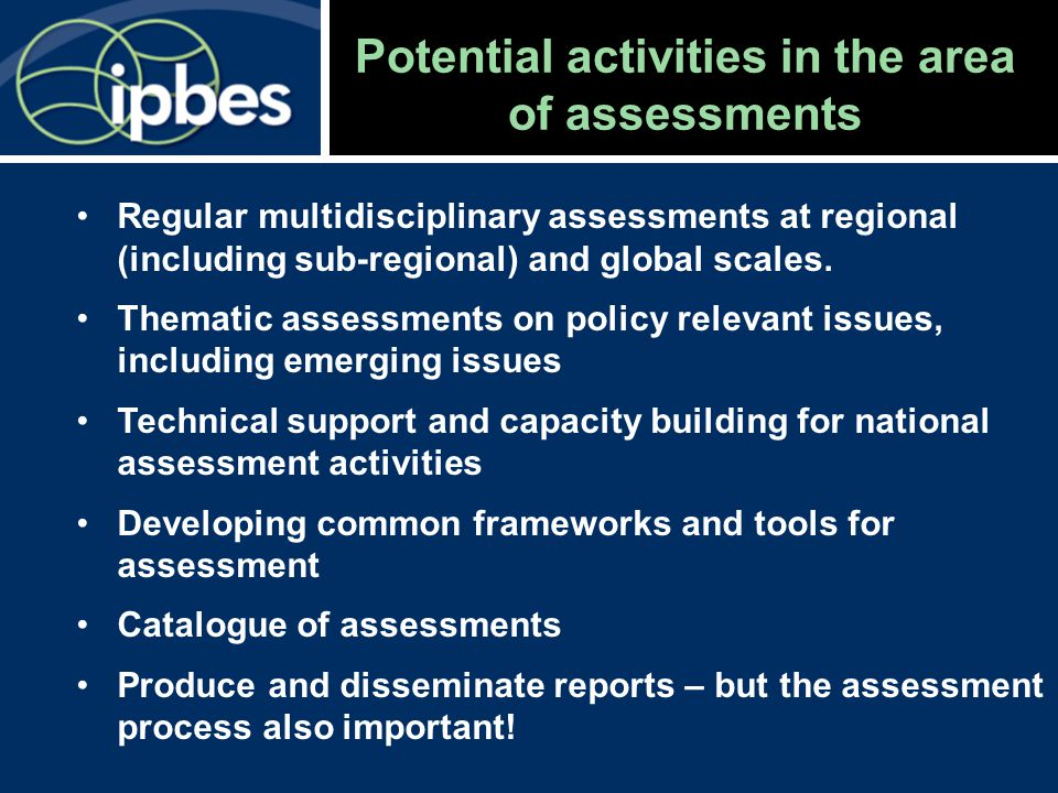 Potential activities in the area of assessments