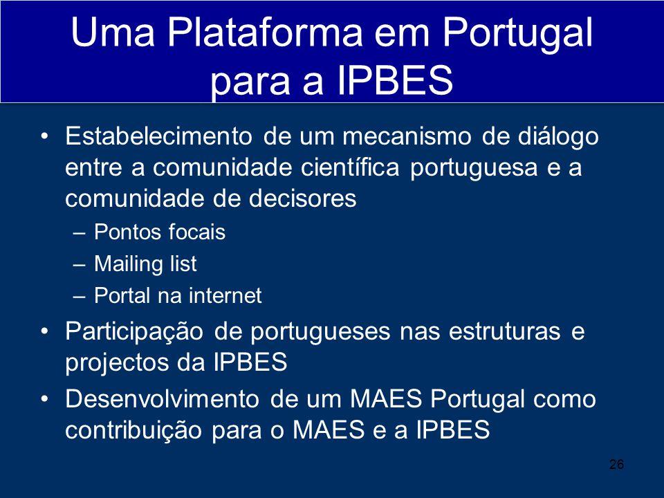 Uma Plataforma em Portugal para a IPBES