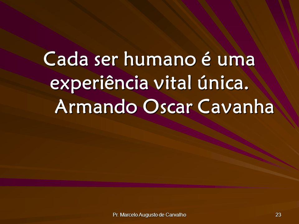 Cada ser humano é uma experiência vital única. Armando Oscar Cavanha