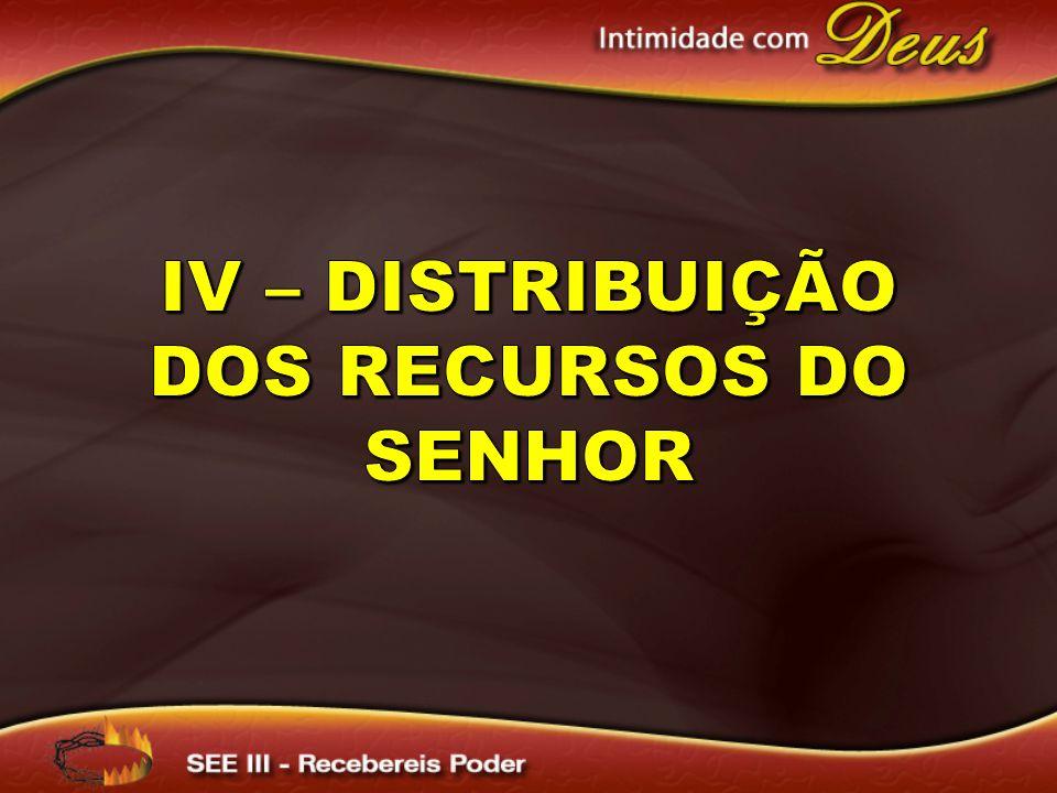IV – Distribuição dos Recursos do Senhor