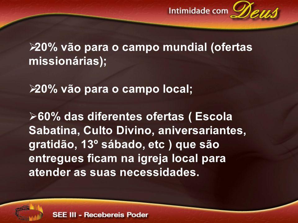 20% vão para o campo mundial (ofertas missionárias);