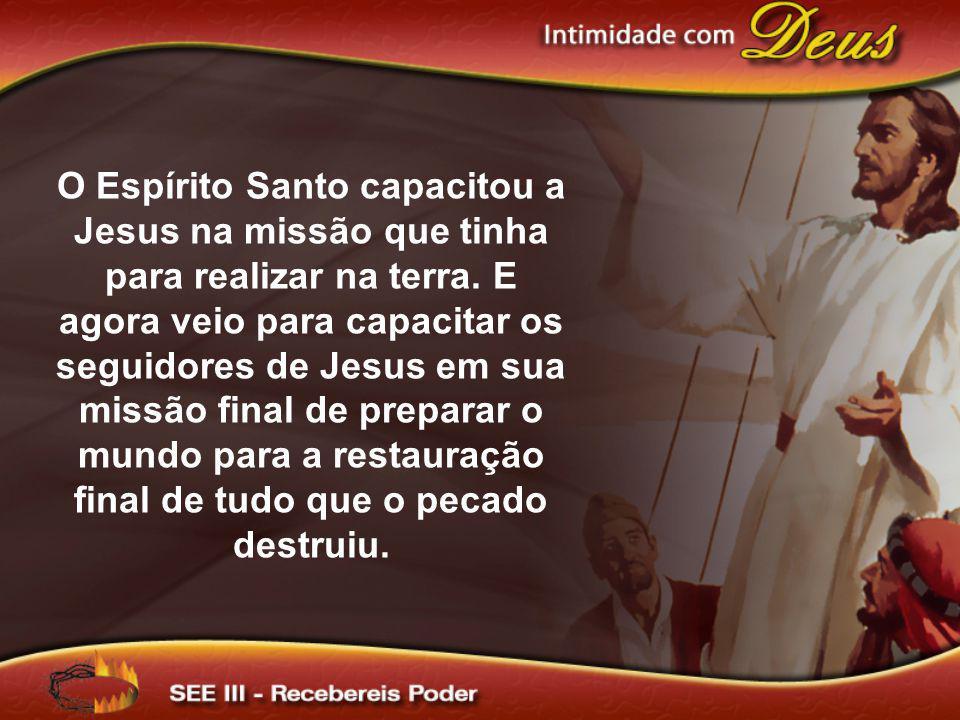O Espírito Santo capacitou a Jesus na missão que tinha para realizar na terra.