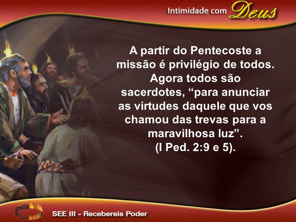 A partir do Pentecoste a missão é privilégio de todos