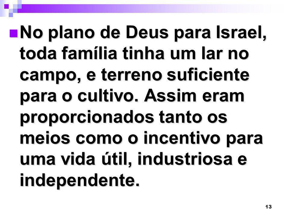 No plano de Deus para Israel, toda família tinha um lar no campo, e terreno suficiente para o cultivo.