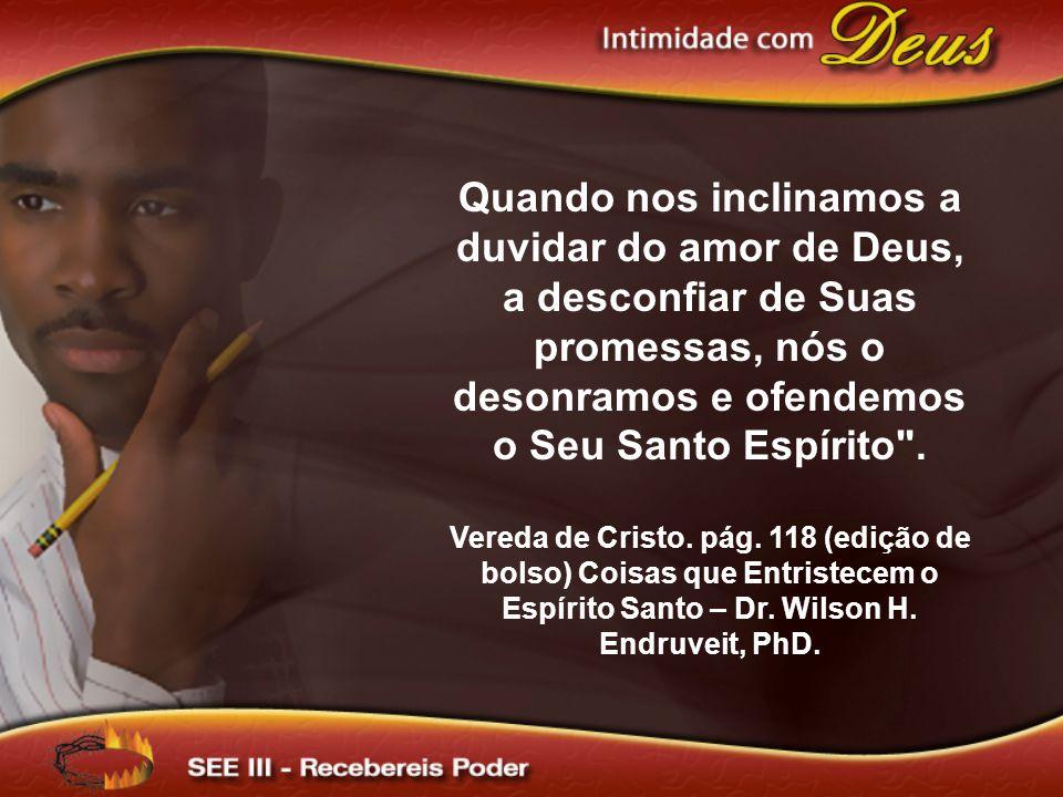 Quando nos inclinamos a duvidar do amor de Deus, a desconfiar de Suas promessas, nós o desonramos e ofendemos o Seu Santo Espírito .