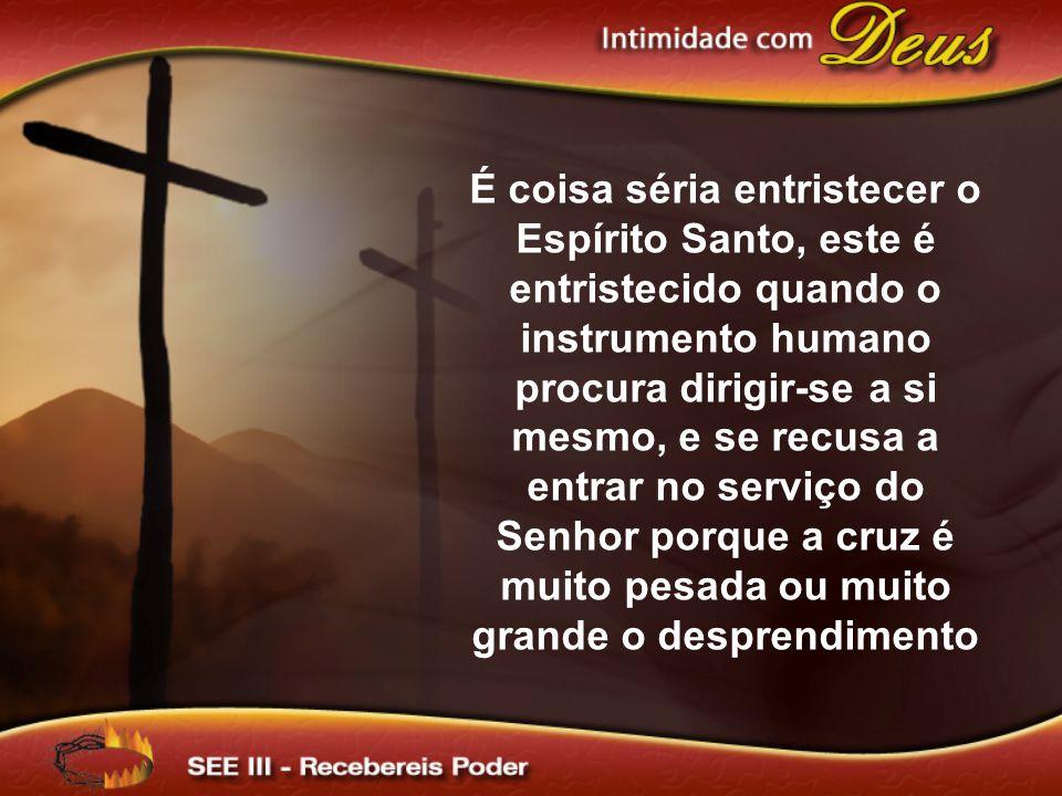 É coisa séria entristecer o Espírito Santo, este é entristecido quando o instrumento humano procura dirigir-se a si mesmo, e se recusa a entrar no serviço do Senhor porque a cruz é muito pesada ou muito grande o desprendimento