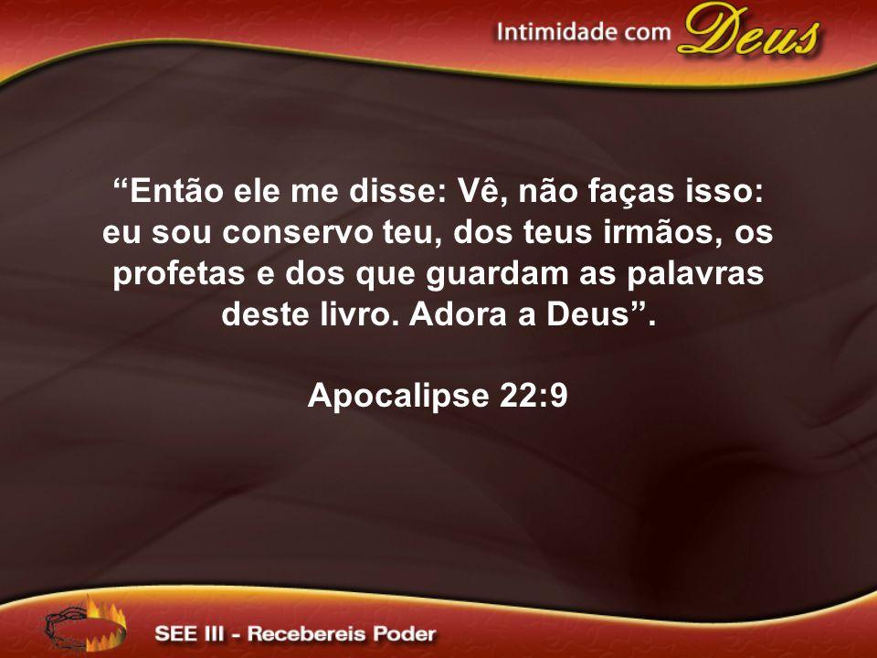 Então ele me disse: Vê, não faças isso: eu sou conservo teu, dos teus irmãos, os profetas e dos que guardam as palavras deste livro. Adora a Deus .