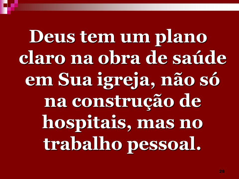 Deus tem um plano claro na obra de saúde em Sua igreja, não só na construção de hospitais, mas no trabalho pessoal.