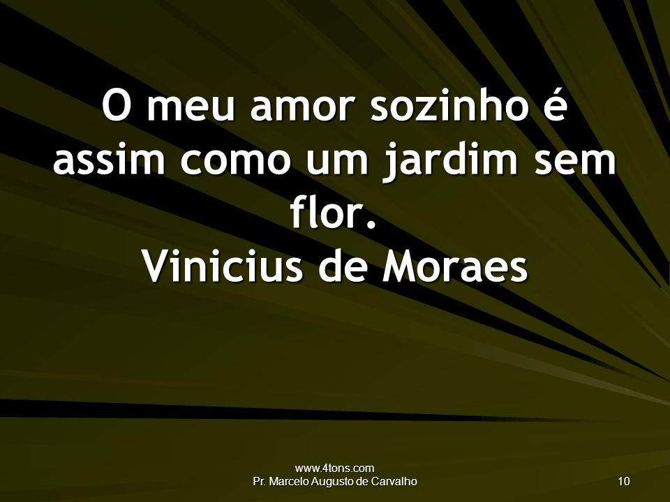 O meu amor sozinho é assim como um jardim sem flor. Vinicius de Moraes