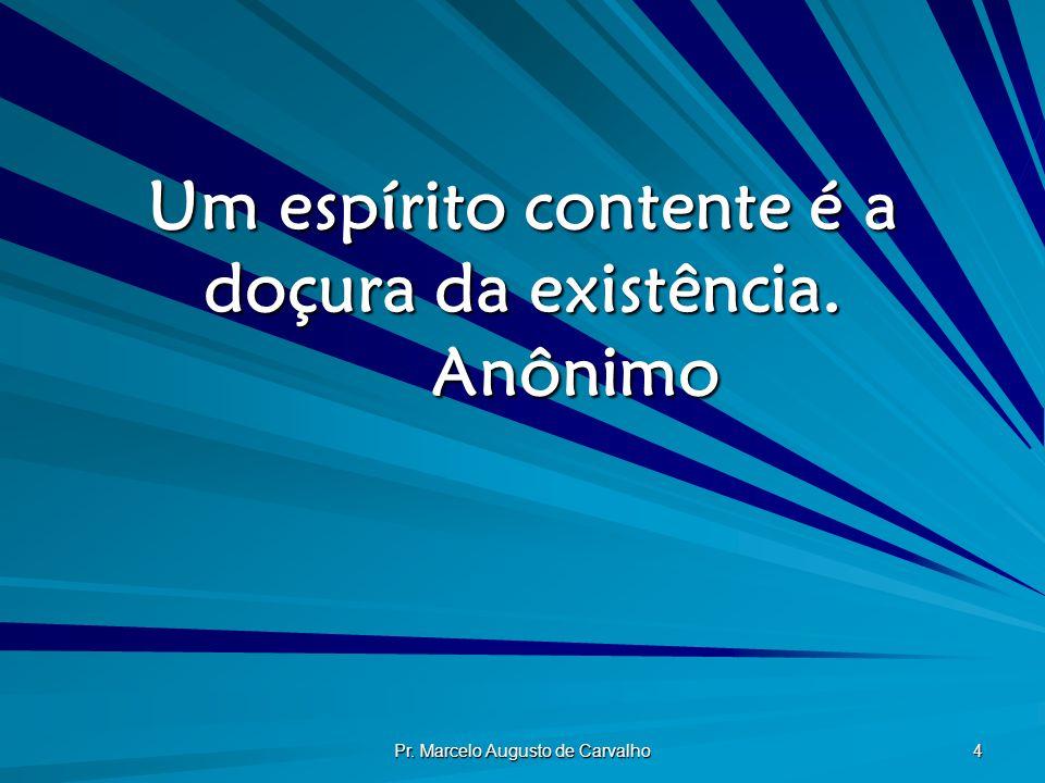 Um espírito contente é a doçura da existência. Anônimo