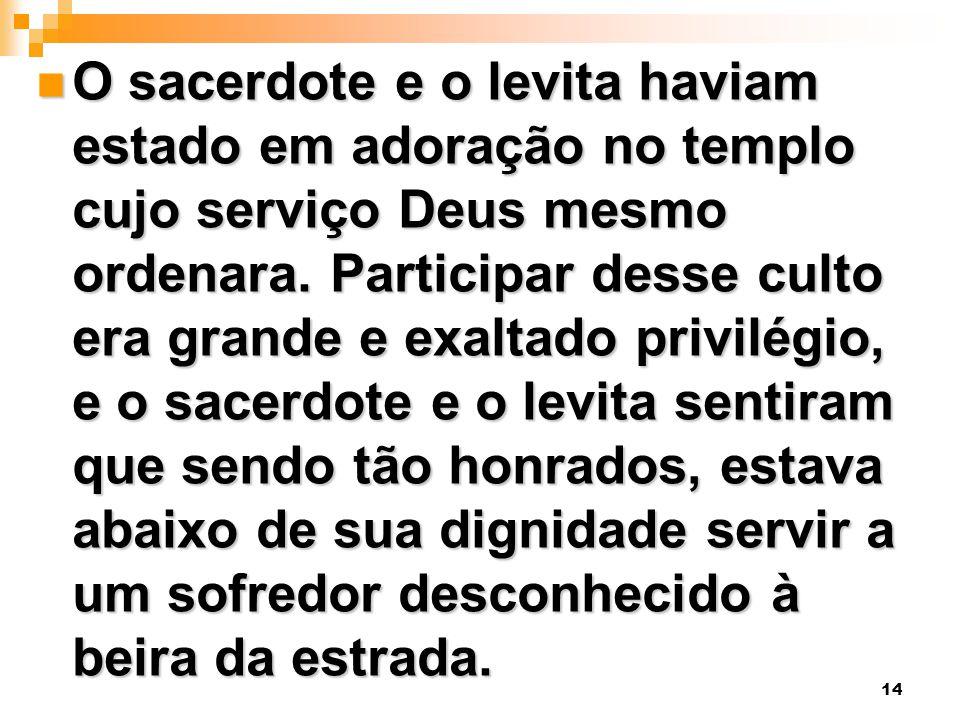 O sacerdote e o levita haviam estado em adoração no templo cujo serviço Deus mesmo ordenara.