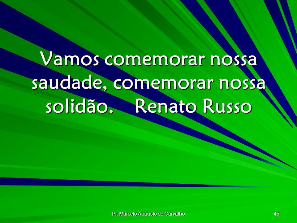 Vamos comemorar nossa saudade, comemorar nossa solidão. Renato Russo