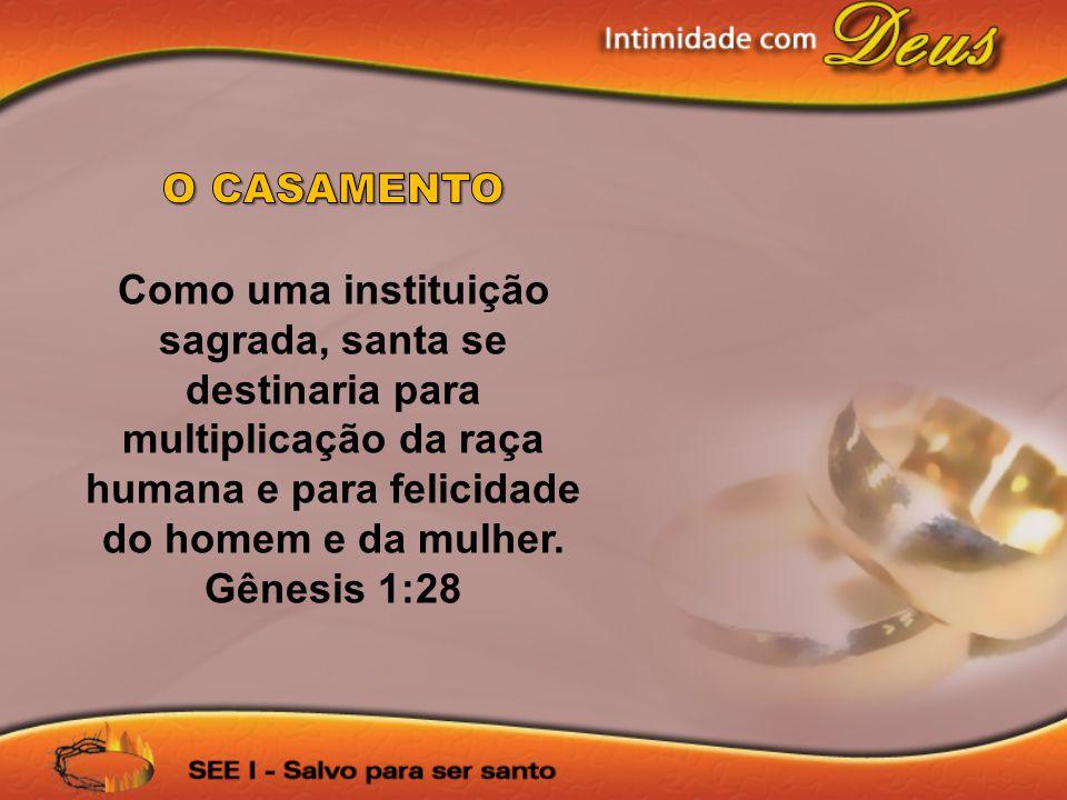 O CASAMENTO Como uma instituição sagrada, santa se destinaria para multiplicação da raça humana e para felicidade do homem e da mulher.