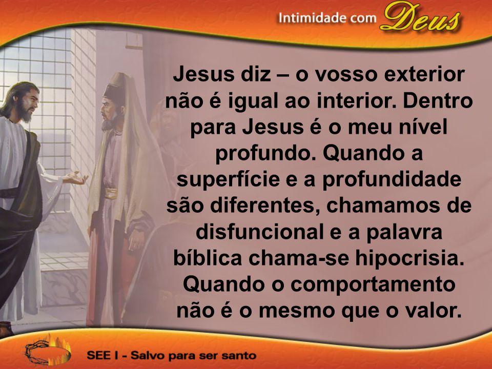 Jesus diz – o vosso exterior não é igual ao interior