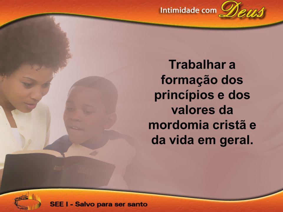 Trabalhar a formação dos princípios e dos valores da mordomia cristã e da vida em geral.