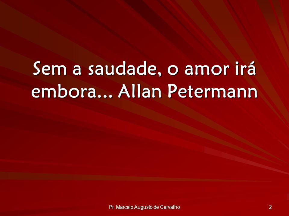 Sem a saudade, o amor irá embora... Allan Petermann