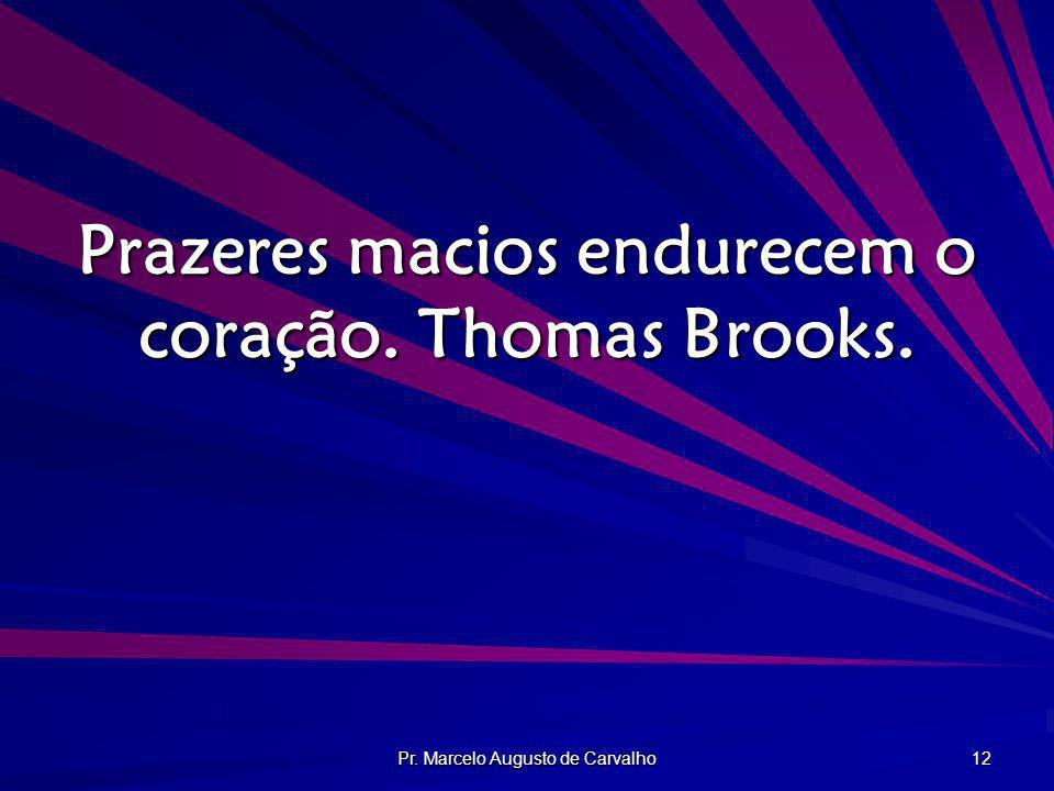 Prazeres macios endurecem o coração. Thomas Brooks.
