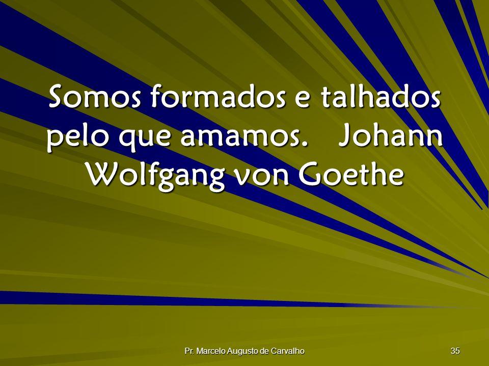 Somos formados e talhados pelo que amamos. Johann Wolfgang von Goethe