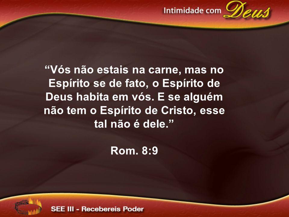 Vós não estais na carne, mas no Espírito se de fato, o Espírito de Deus habita em vós. E se alguém não tem o Espírito de Cristo, esse tal não é dele.