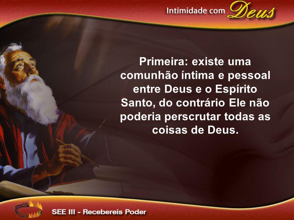 Primeira: existe uma comunhão íntima e pessoal entre Deus e o Espírito Santo, do contrário Ele não poderia perscrutar todas as coisas de Deus.