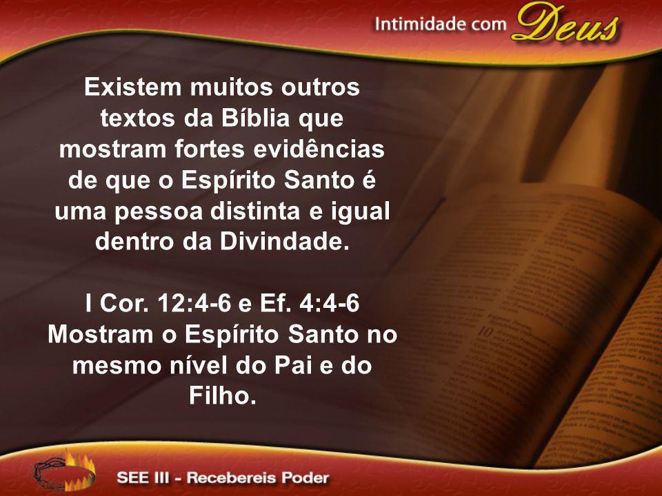Existem muitos outros textos da Bíblia que mostram fortes evidências de que o Espírito Santo é uma pessoa distinta e igual dentro da Divindade.