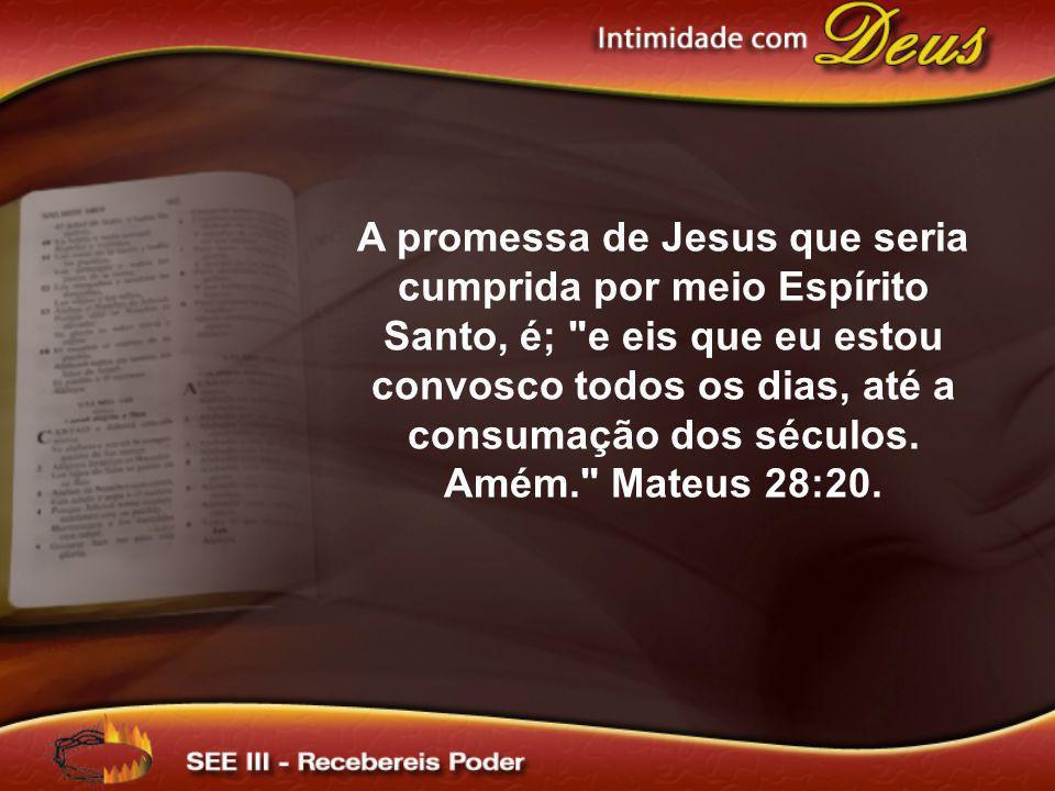 A promessa de Jesus que seria cumprida por meio Espírito Santo, é; e eis que eu estou convosco todos os dias, até a consumação dos séculos.