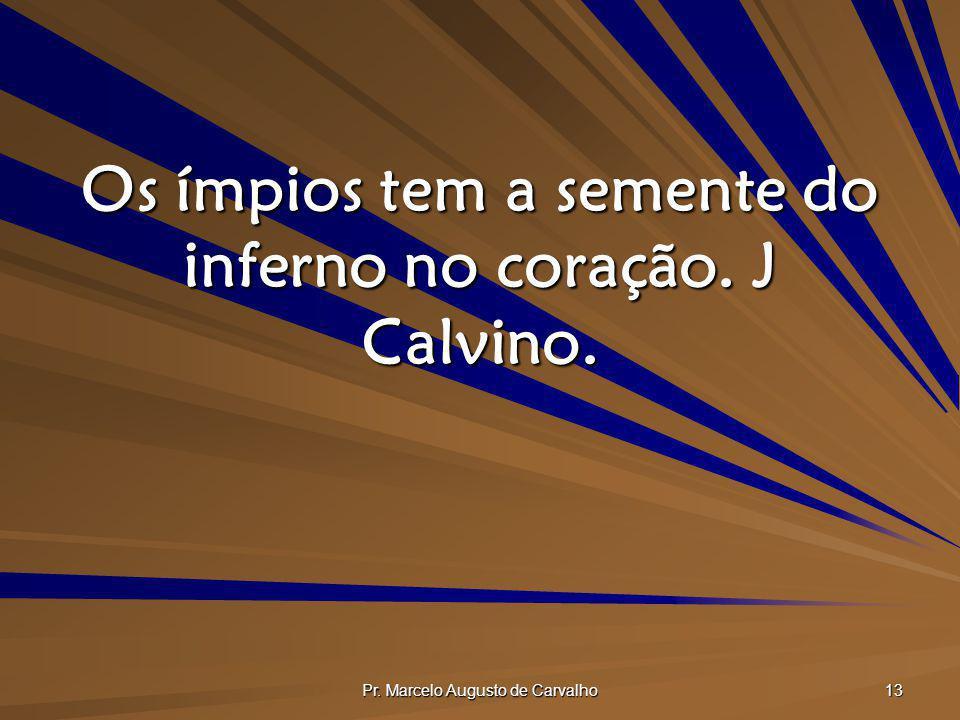 Os ímpios tem a semente do inferno no coração. J Calvino.