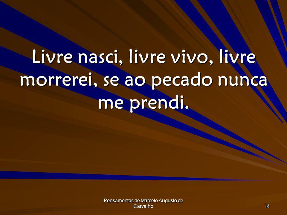 Livre nasci, livre vivo, livre morrerei, se ao pecado nunca me prendi.