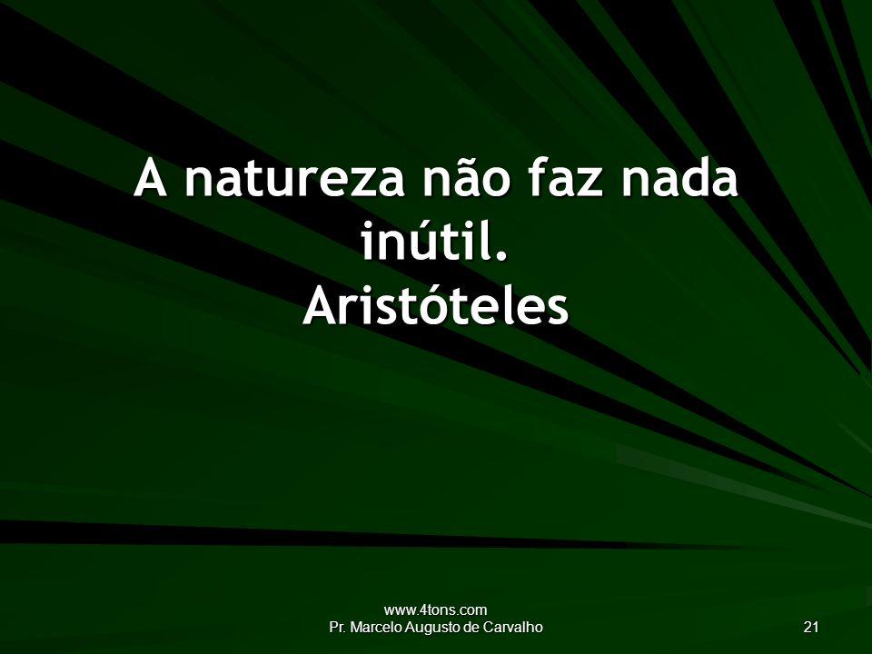 A natureza não faz nada inútil. Aristóteles