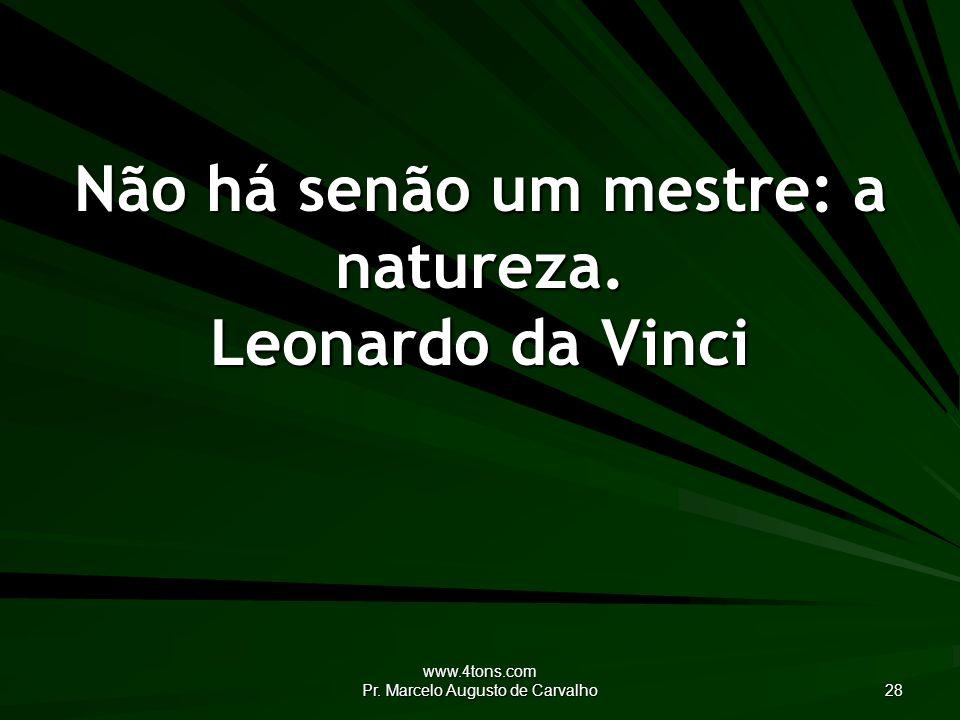 Não há senão um mestre: a natureza. Leonardo da Vinci