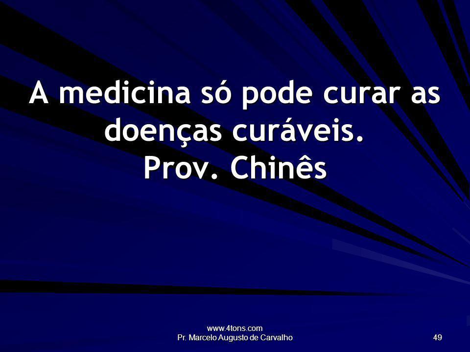 A medicina só pode curar as doenças curáveis. Prov. Chinês