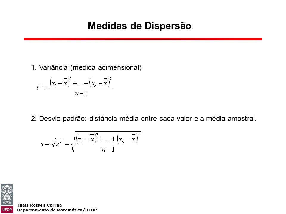 Medidas de Dispersão 1. Variância (medida adimensional)