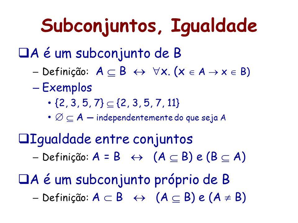 Subconjuntos, Igualdade