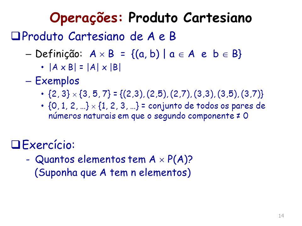 Operações: Produto Cartesiano