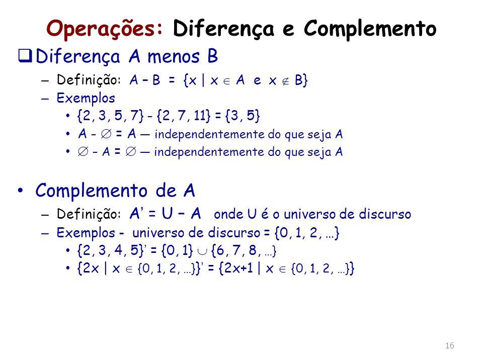 Operações: Diferença e Complemento