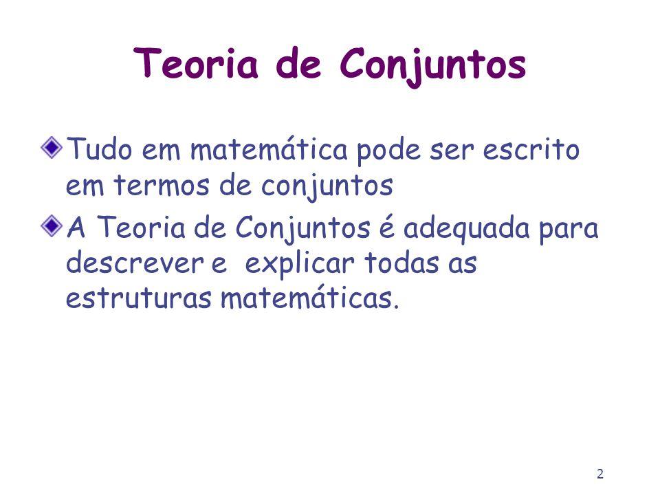 Teoria de Conjuntos Tudo em matemática pode ser escrito em termos de conjuntos.