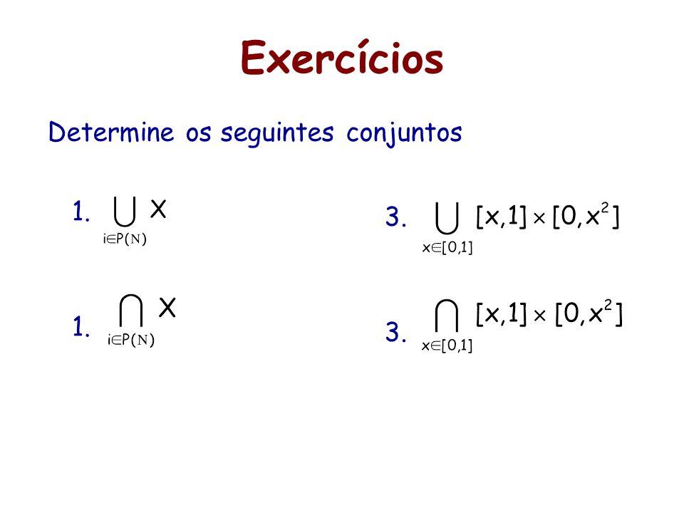 Exercícios Determine os seguintes conjuntos